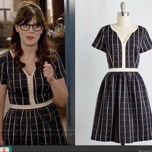 Navy Grid Fit and Flare Dress
